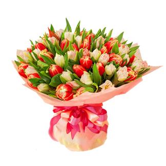 Букет из 13 тюльпанов, доставка цветов город троицк челябинской области